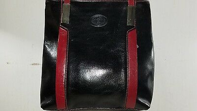 Simona Ferri Genuine Black and Red Leather Shoulder Satchel Tote  Bag
