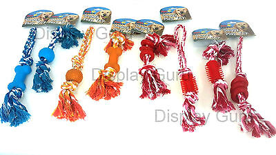 Cotton Rope Rubber Chew Toy with Knot Fun Tough Strong Puppy Dog Pet Tug War