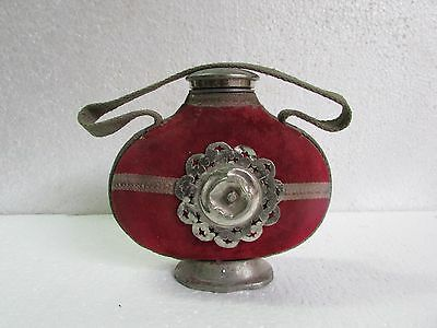 Vintage Hand Crafted Metal Travelling Drinking Water Bottle With Red Cover
