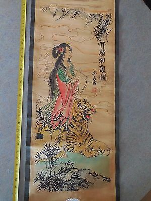 Chinese scroll watercolor on paper of  beauty and tiger