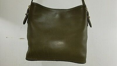 Coach #9809 Olive Green Leather Crossbody Shoulder Tote Bucket Bag