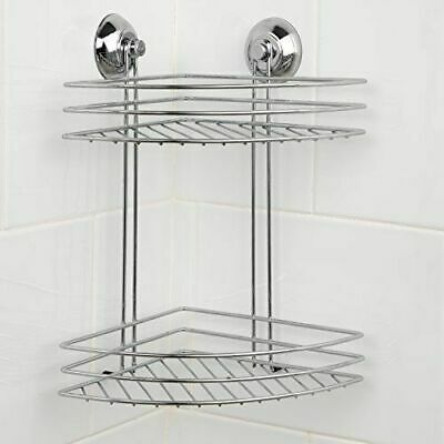 Beldray 2-Tier Corner Suction Shower Basket chrome bathroom storage caddy shelf
