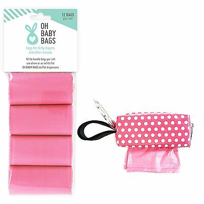 Oh Baby Bags Diaper Bag Clip-On Dispenser with Scented Disposable Bags for Dirty