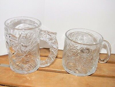 Two Vintage Batman Forever McDonalds Cups/Mugs BATMAN & RIDDLER 1995 DC Comics