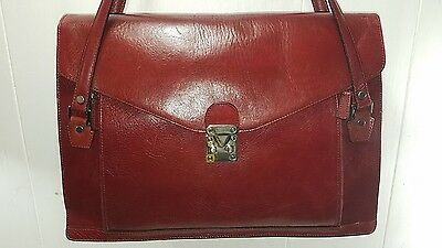 Wilson's Red Or Burgundy  Leather Briefcase Organizer Laptop Bag
