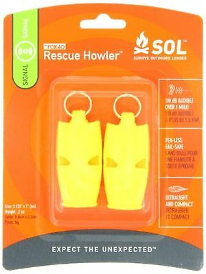 Survive Outdoors Longer Rescue Howler Whistle, 2 Piece