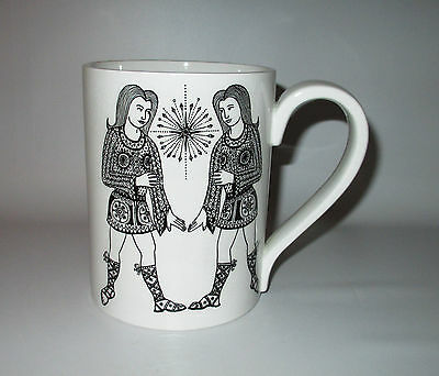 Portmeirion Zodiac Mug Gemini Twins Black & White 16 oz Oversize John Cuffley