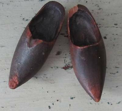 Antique - Primitive Treen Hand Made Miniature Wooden Clogs - Possibly Victorian