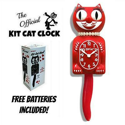 "SCARLET RED LADY KIT CAT CLOCK 15.5"" LIMITED EDITION Free Battery MADE IN USA"