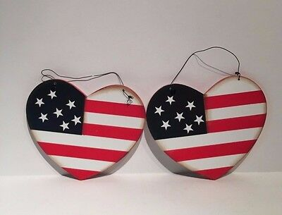 Patriotic Ornaments Hearts Red White Blue USA  Hanging Decor Patriotic Wood