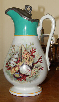 19C HP English Ironstone Milk Pitcher w Pewter Lid Barnett Seashells Turquoise