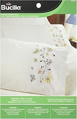 Bucilla Stamped Embroidery Pillow Case Pair 20 by 30-Inch 45076 Butterflies I...