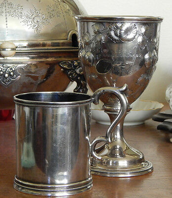 Mid-19th C American Coin Silver Goblet Fruit & Flowers For Everest NY