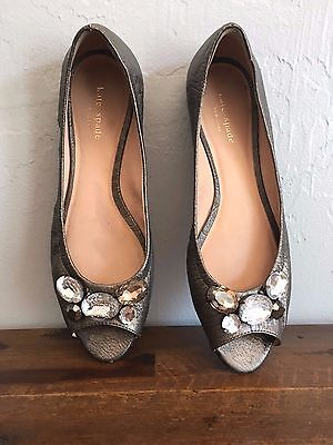 KATE SPADE New York $148 Leather Metallic Gem Open Toe Flats Shoes Size 10 M