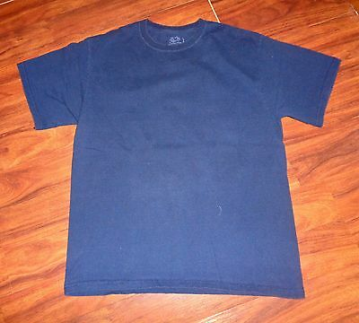 Fruit of the Loom Men's  100% Cotton Dark Blue Short Sleeve T-Shirt Sz L