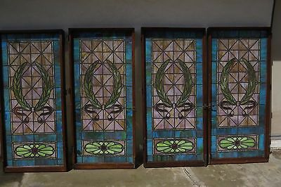 Antique stained glass windows - set of 4