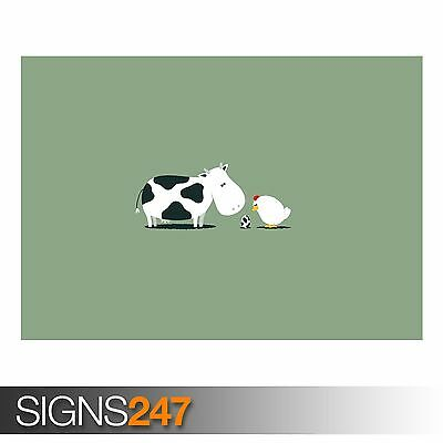 FUNNY COW EGG (AD425) FUNNY POSTER - Photo Picture Poster Print Art A0 to A4