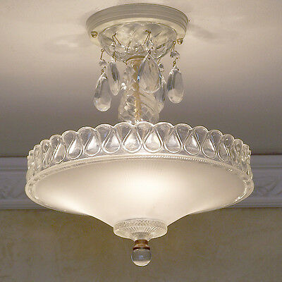 132b Vintage GLASS CEIILING LIGHT LAMP FIXTURE chandelier linen white