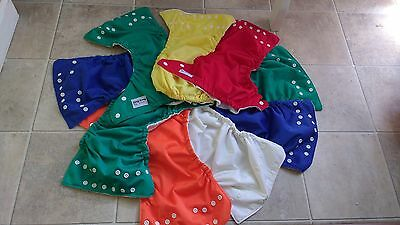 Lot Of 10 Fuzzibunz Cloth Pocket Diapers With Hemp/Cotton Inserts