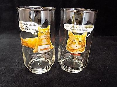 Pair of Vintage Morris the Cat 9-Lives Advertising Drinking Glasses