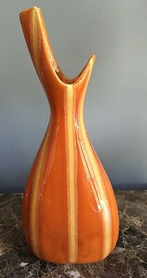 Hull Pottery MCM Persimmon Striped Vase Excellent