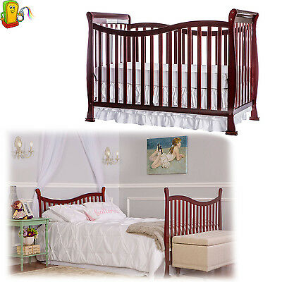 Convertible Baby Crib 7 in 1 Mattress Toddler Nursery Bed Changer Side Daybed