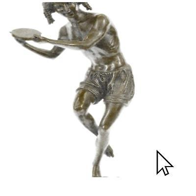 Bronze Sculpture Signed Francois Duret Dancing Youth Figurine Sculpture