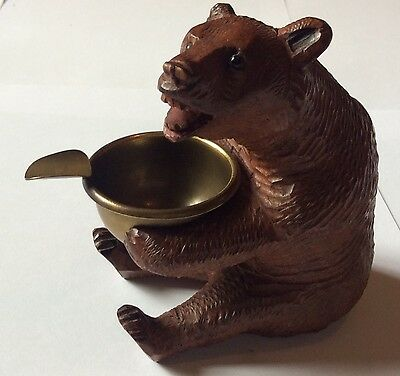 Antique Carved Black Forest Seated Bear Ashtray Holder