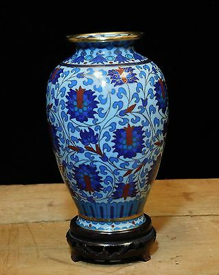 Beautiful Vintage Japanese Cloisonne Flower Vase With Stand