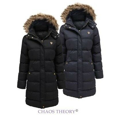 Ladies Fur Hooded Jacket Womens Coat Padded Quilted Puffer Long Parka 8-24