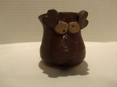 Pottery Folk Art Moose Small Bowl (Brown) Eyes- Cut Out Mouth-