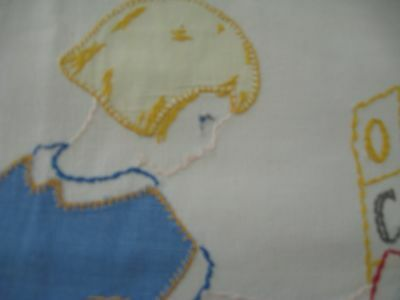 Vintage Embroidered Quilt, Early 1900's, 32X49, Clean&all Cotton