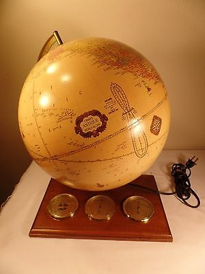 "Vintage George F. Cram 12"" World Globe Cram's Light Up Antique World Globe"