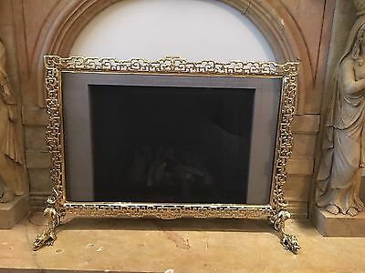 Brass Fireplace & Mantels Fire Screen With Putti