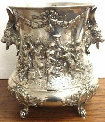 Wow! Antique Solid Silver 800 Italian Wine Cooler Holder  Champagne Bucket ?