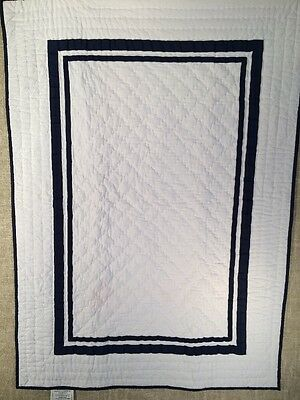 Pottery Barn Kids Harper Nursery Crib Toddler Quilt Navy
