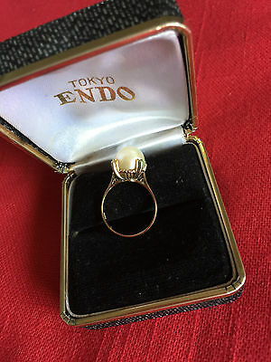 Solitaire Akoya Pearl Ring 7.5-8. 18 K Gold Size 6 From Japan 1965