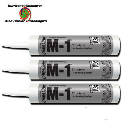 3 TUBES Chemlink M1 BLACK Structural Sealant - 10.1 oz Cartridge - ChemLink M-1