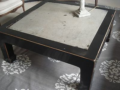 large coffee table -solid wood oriental lacquered  with solid stone /elm 100 cms