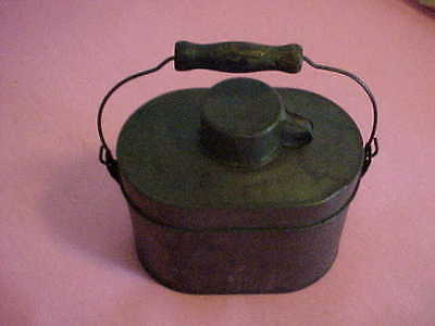 ANTIQUE COMPLETE 5 PC MINERS LUNCH PAIL w/METAL BAIL & WOOD HANDLE & CUP!