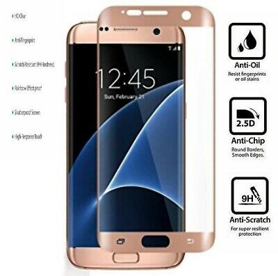 100% Genuine Tempered Curved Glass Film Screen Protector Samsung Galaxy S7 Clear