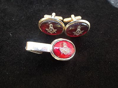 Vintage Antique Collectible Masonic Free Masons Jewelry Cuff Links Mason Clip