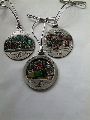 John Deere Pewter Christmas Ornaments, 1996, 1997, and 2001.