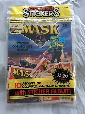 MASK Cartoon Sticker Album with Stickers and 3D Glasses by Diamond / Kenner