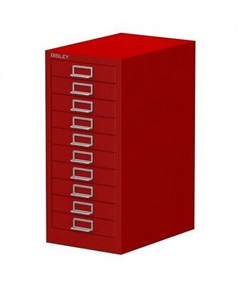 Bisley 10 Multi Drawer Filing Cabinet - Red New Free Delivery