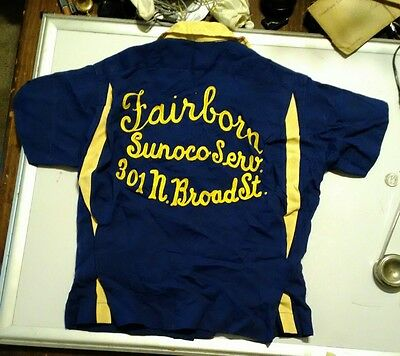 Vintage SUNOCO SERVICE GAS STATION BOWLING SHIRT FAIRBORN OH NAT NAST