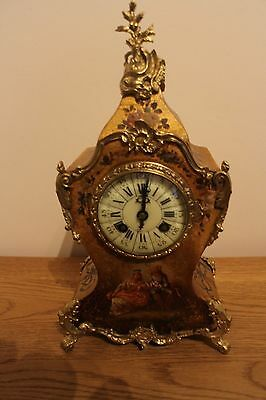 VICTORIAN ANTIQUE FRENCH 8 DAY PAINTED  MANTEL CLOCK RICHARD & CIE fully cleaned