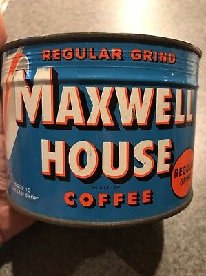 Maxwell House Regular Coffee Shop Display Tin Sealed NOS unopened Key Wind Full
