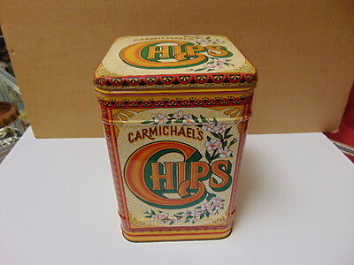"""Vintage Carmichael's Chips Tin Art England Square CASE 10"""" tall x 6 1/2 Hinged"""
