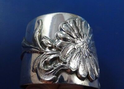 """Silver Plate Napkin Ring 1 3/4"""" Wide with Big Flower  (#1295)"""